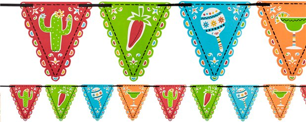 Mexican Fiesta Flag Bunting - 4.5m Bunting with 24 Flags