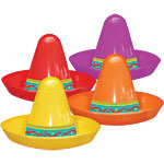Mini Plastic Sombrero Hats - Assorted Colours