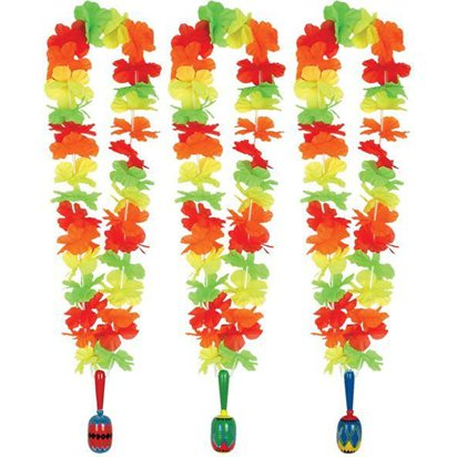 Flower Lei Garland with Wooden Maraca - Hawaiian Accessories front