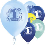 "1st Birthday Blue Printed Balloons - 12"" Latex"
