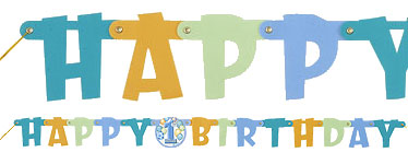 Happy 1st Birthday Blue Jointed Letter Banner - 1.2m