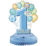 First Birthday Balloons Blue Honeycomb Table Centrepiece - 36cm