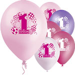 "1st Birthday Pink Printed Balloons - 12"" Latex"