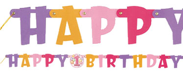 Happy 1st Birthday Pink Letter Banner - 1.2m