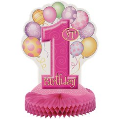 First Birthday Balloons Pink Honeycomb Table Centrepiece - 36cm