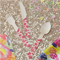 Flamingo Fun Wooden Cutlery - Assorted Party Pack