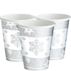 Sparkling Snowflake Paper Cups - 255ml
