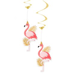 Flamingo Hanging Swirls