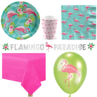 Flamingo Paradise Party Pack - Deluxe Pack For 8