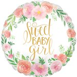 "Floral Baby Balloon - 18"" Foil"