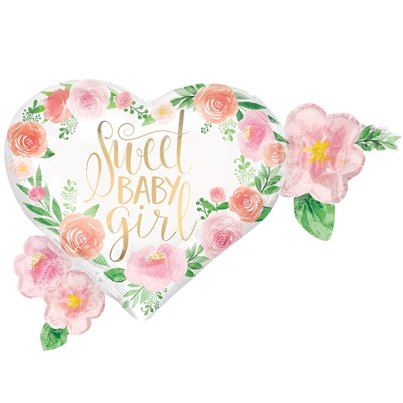 "Floral Baby Supershape Balloon - 27"" Foil"