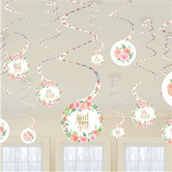 Floral Baby Hanging Swirl Decorations