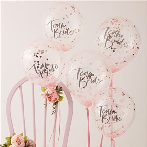 Floral Hen Party Team Bride Confetti Balloons - 12