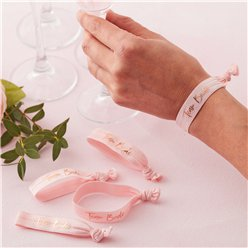 Floral Hen Party 'Team Bride' Rose Gold Foiled Wristbands