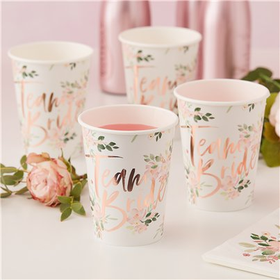 Floral Hen Party 'Team Bride' Paper Cups - 255ml