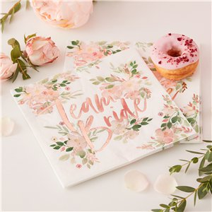 Floral Hen Party 'Team Bride' Paper Napkins - 33cm