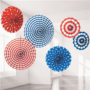Red, White & Blue Paper Fan Decorations - 40cm