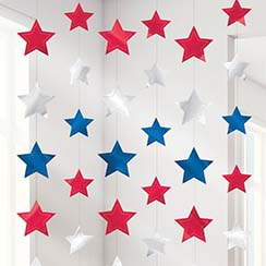 Red, Silver & Blue Star Hanging String Decorations - 2.1m
