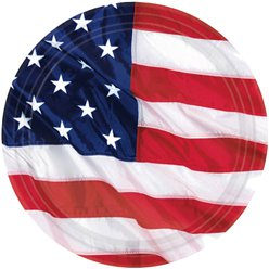 USA American Flag Plates - 26.6cm Paper Party Plates