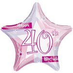 "Happy 40th Birthday Pink Star Balloon - 18"" Foil"