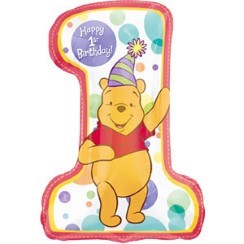 "Winnie the Pooh 1st Birthday Deflated Balloon - 28"" Foil"
