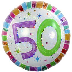 50th Birthday Radiant Round Balloon - 18