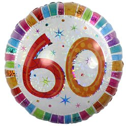 "60th Birthday Radiant Round Balloon - 18"" Foil"