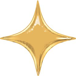 "Metallic Gold Starpoint Balloon - 40"" Foil - unpackaged"