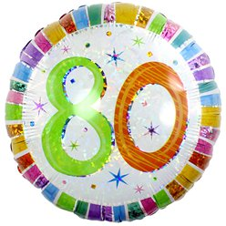 "80th Birthday Radiant Round Balloon - 18"" Foil"