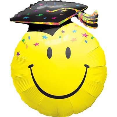 "Graduation Smiley Face Balloon - 36"" Foil"