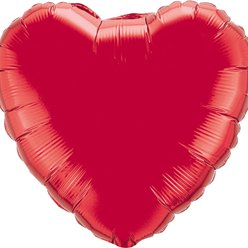 "Ruby Red Heart Shaped Balloon - 18"" Foil"
