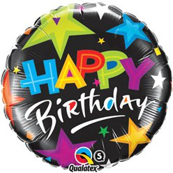 "Happy Birthday Brilliant Stars Balloon - 18"" Foil"