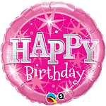 "Happy Birthday Pink Sparkle Balloon - 18"" Foil"