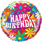 "Happy Birthday Psychedelic Daisies Balloon - 18"" Foil"