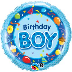 "Happy Birthday Boy Blue Round Balloon - 18"" Foil"