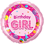 "Happy Birthday Girl Pink Round Balloon - 18"" Foil"
