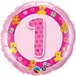 Pink Teddies 1st Birthday Round Balloon - 18