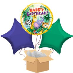 Jungle Happy Birthday Balloon Bouquet - Delivered Inflated