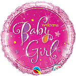 "Welcome Baby Girl Stars Pink Round Balloon - 18"" Foil"