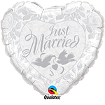 "Just Married White & Silver Doves Wedding Balloon - 18"" Foil"