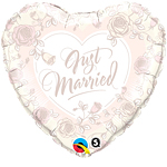 "Just Married Roses Print Heart Shaped Wedding Balloon - 18"" Foil"