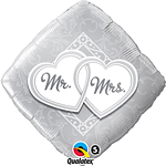 "Mr & Mrs Entwined Hearts Wedding Balloon - 18"" Foil"