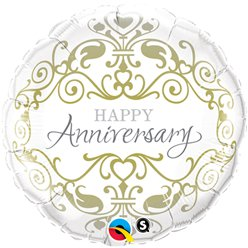 "Happy Anniversary Classic Design Round Balloon - 18"" Foil"