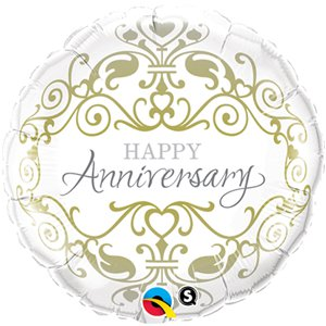Happy Anniversary Classic Design Round Balloon - 18