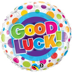 "Good Luck Colourful Dots Stars Balloon - 18"" Foil"