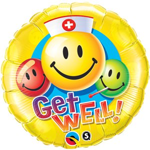 Get Well! Smiley Colourful Faces Round Balloon - 18