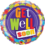 "Get Well Patterned Dots Design Balloon - 18"" Foil"