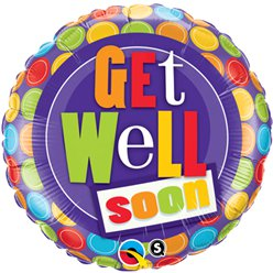 Get Well Patterned Dots Design Balloon - 18