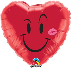 "Valentine's Naughty Smile & Kiss Red Heart Shaped Balloon - 18"" Foil"