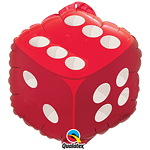 "Red & White Dice Design Fun Balloon - 18"" Foil"